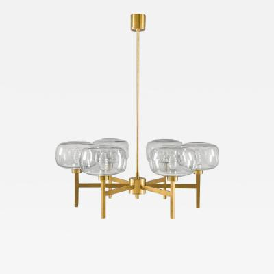 Holger Johansson Large Swedish Chandelier in Brass and Glass by Holger Johansson