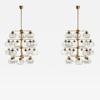 Holger Johansson Pair of Midcentury Chandeliers with 24 Smoked Glass Shades by Holger Johansson
