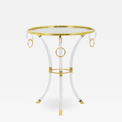 Hollis Jones Directoire style pedestal table in lucite and gilt brass 1970s