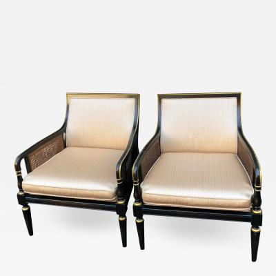 Hollywood Recency Black Gold Cane Arm Low Club Chairs a Pair