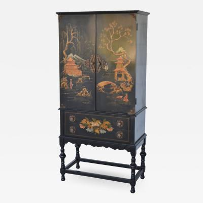 Hollywood Regency Black Lacquered Chinoiserie Cabinet