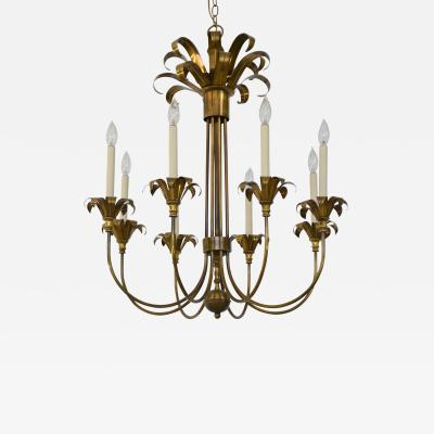 Hollywood Regency Brass Chandelier