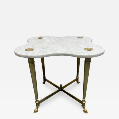 Hollywood Regency Brass and Carrara Marble Table