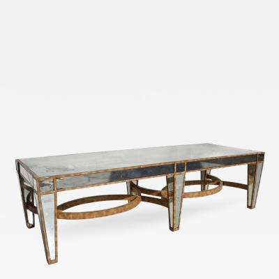 Hollywood Regency Coffee Table in Antiqued Mirror