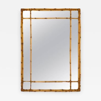 Hollywood Regency Faux Bamboo Gilt Wall Mirror