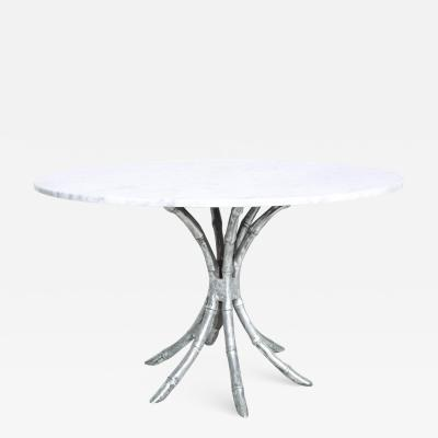 Hollywood Regency Faux Bamboo in Aluminum Pedestal Table with Marble Top