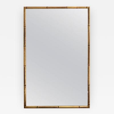 Hollywood Regency Giltwood Faux Bamboo Wall Mirror