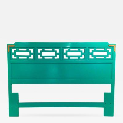 Hollywood Regency Lacquered Techno Emerald Green Queen Fretwork Headboard