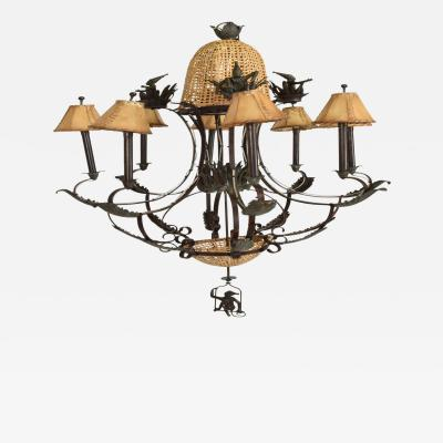 Hollywood Regency Maitland Smith Bronze Cane Monkey Chandelier