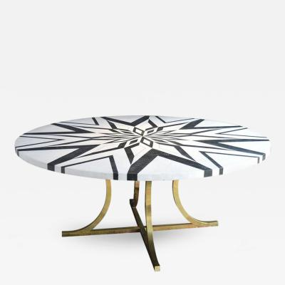 Hollywood Regency Marble Top Dining Table