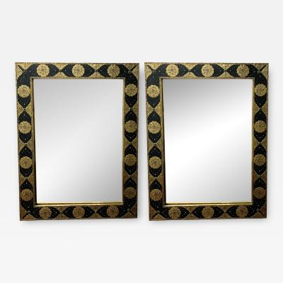 Hollywood Regency Moroccan Mirror with Filigree Brass Inlay on Ebony a Pair