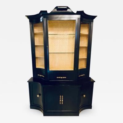 Hollywood Regency Parzinger Style Cabinet Breakfront Bookcase or Vitrine
