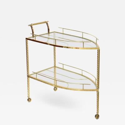 Hollywood Regency Style Boat Shaped Polished Brass Bar Cart Italy 1960s
