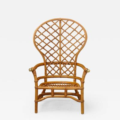 Hollywood Regency Style High Back Fan Style Rattan Armchair with Brass Elements