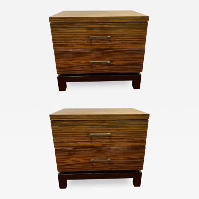 Hollywood Regency Style Zebra Wood End Tables Nightstands or Chests a Pair
