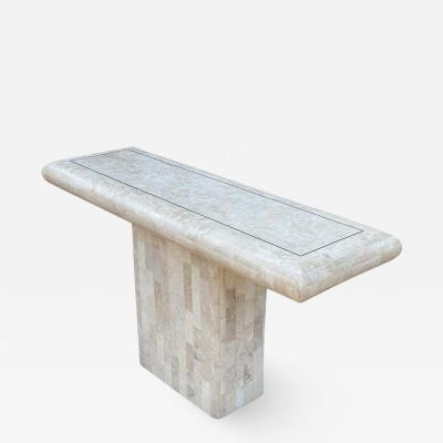 Hollywood Regency Tessellated Stone or White Marble Console Table or Sofa Table