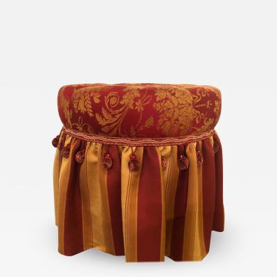 Hollywood Regency Upholstered Tufted Red and Gilt Decorated Ottoman or Footstool