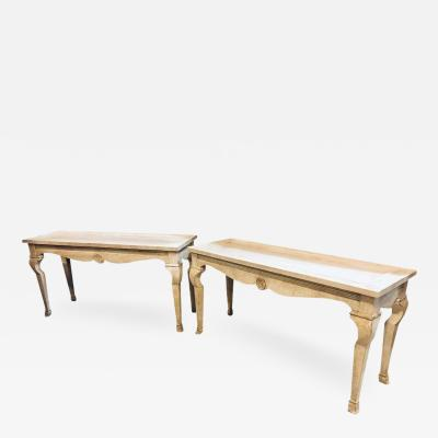 Hollywood Regency Wood Center Console Table Handcrafted Blush Toned a Pair