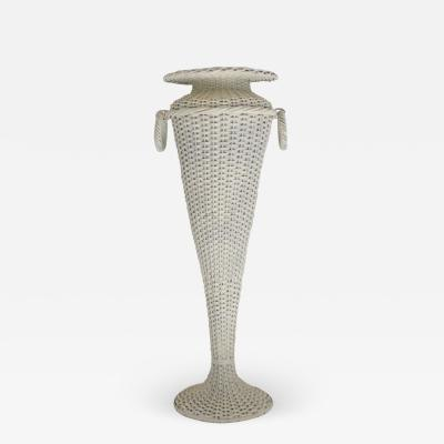 Hollywood Regency Woven Rattan Plant Stand