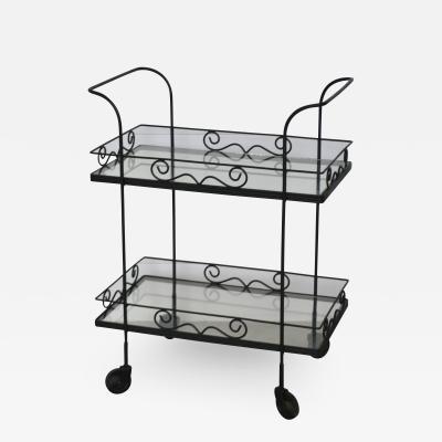 Hollywood Regency Wrought Iron Bar Cart