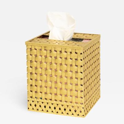 Hollywood Regency gold lattice tissue box