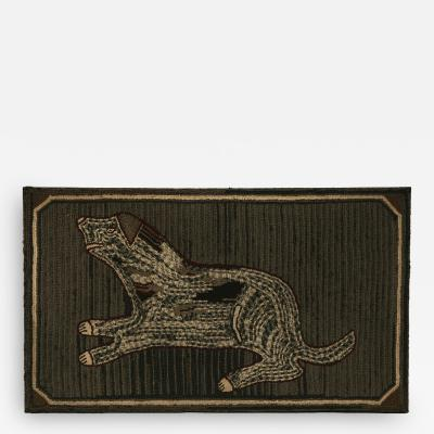 Hooked Rug of a Dog