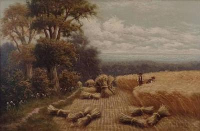 Horace Mann Livens H Livens Oil Painting Harvesting on a Summers Day