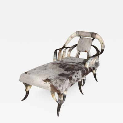 Horn Cowhide Chaise Lounge