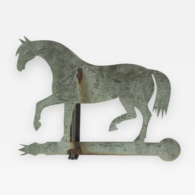 Horse Weathervane Made of Sheet Bronze with Iron Fittings