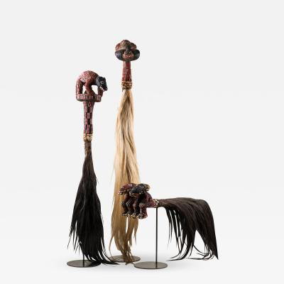 Horsetail Flywhisk with Beaded Human Head Finial from Cameroon Grasslands
