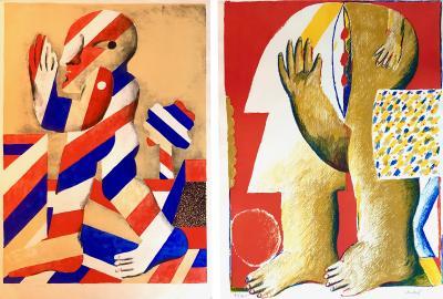 Horst Antes 2 Horst Antes Color Lithographs circa 1968