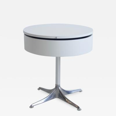 Horst Bruning Horst Bruning for COR White Laminate and Aluminum Round Side Table