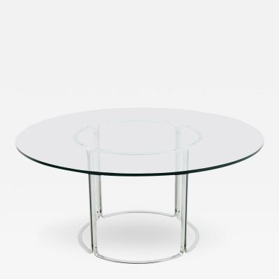 Horst Bruning Large Dining Table Horst Bruening Glass and Steel by Kill International 1970s