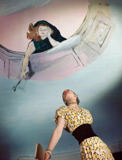 Horst P Horst Dress by Jo Copeland Mural by Marcel Vertes 1946