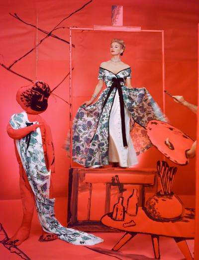 Horst P Horst Lisa Fonssagrives Dress by Pierre Balmain Background by Marcel Vertes 1953