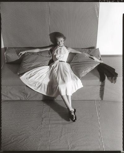 Horst p Horst White Dress on Striped Sofa II 1951