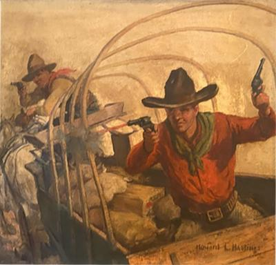 Howard Livingston Hastings GREAT COWBOYS WITH GUNS IN COVERED WAGON PAINTING BY HOWARD L HASTINGS