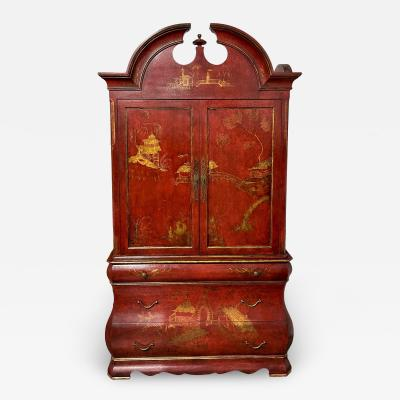 Huge 18th C Style Red Chinoiserie Decorated Dutch Bombay Linen Press