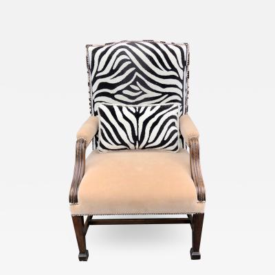 Huge Carved Mahogany Clarence House Zebra Velvet Mohair Desk Chair
