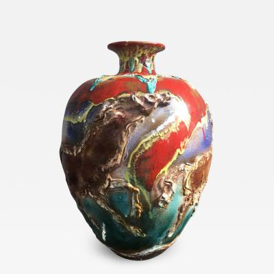 Huge Ceramic Vase Signed Ghersi Albisola 1976