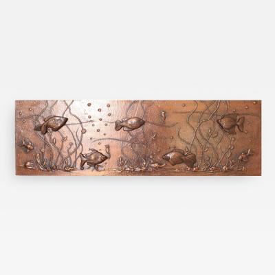 Huge Lighted Copper Wall Picture Panel or Object with Fishes
