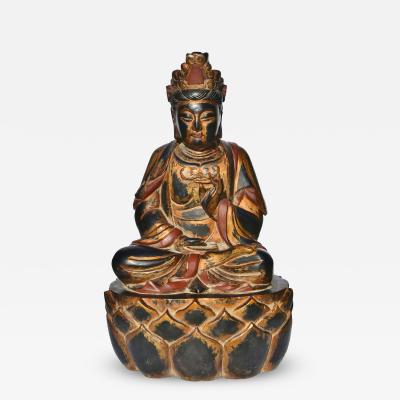 Huge Solid Wood Buddha Gilded