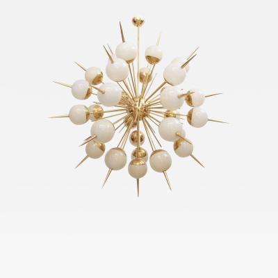 Huge Sputnik Murano Glass and Brass Chandelier Attributed to Stilnovo