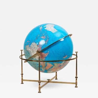 Huge Vintage Illuminated Globe with Brass Stand