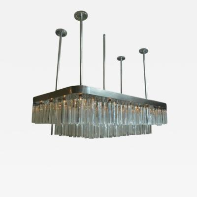 Huge and Impressive Mid Century Nickel and Lucite Chandelier