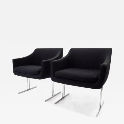 Hugh Acton Pair of Hugh Acton Chrome Frame Lounge Chairs by Vecta Group Italy