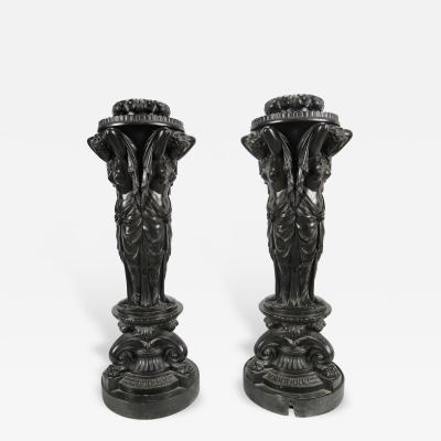 Humphrey Hopper Regency Faux Bronze Plaster Figural Pedestals