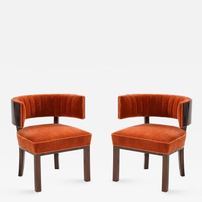 Hungarian Art Deco Macassar Ebony Club Chairs