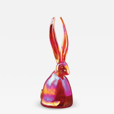 Hunt Slonem Hand Blown Glass Bunny Bright Red