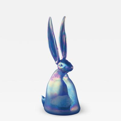 Hunt Slonem Hand Blown Glass Bunny Sky Blue